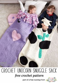 Crochet this cute magic unicorn snuggle sack blanket afghan for kids and adults from my free pattern roundup! (similar to the mermaid tale blanket craze)