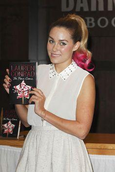 Lauren Conrad rocks a hot pink ponytail