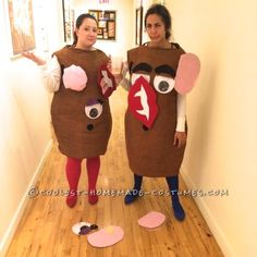 Potato Head costumes with the added fun of making them interactive. Toy Story Halloween Costume, Cute Couple Halloween Costumes, Toy Story Costumes, Easy Diy Costumes, Homemade Costumes, Halloween Crafts, Halloween Party, Halloween Stuff, Halloween Ideas