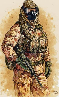 Australian SAS Art by Military Artist - Ian Coate British Armed Forces, British Soldier, British Army, Military Working Dogs, Military Art, Military History, Military Uniforms, Military Drawings, Military Special Forces