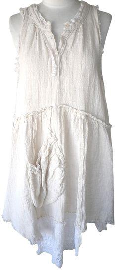 Magnolia Pearl: Bone European Handwoven Linen French Farm Dress