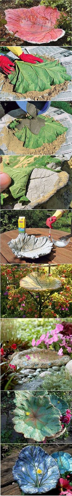 How To Make A Stand Cast Birdbath in Leaf Shape(Diy Garden Projects) Garden Crafts, Garden Projects, Diy Projects, Concrete Leaves, Outdoor Projects, Dream Garden, Yard Art, Garden Inspiration, Style Inspiration