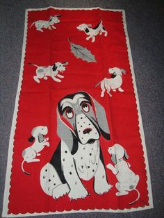Great vintage tea towel would make a great pillow for the dog bed, bandana or puppy Christmas stocking