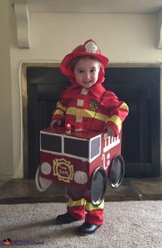 Layden is wearing his fireman costume & handmade firetruck. He loves fire trucks and that's what he wanted to be for Halloween. Diy Fireman Costumes, Halloween Costumes Kids Boys, Halloween Costume Contest, Boy Costumes, Halloween Fun, Toddler Fireman Costume, Fireman Kids, Firefighter Halloween, Homemade Costumes
