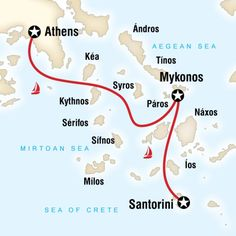 Map of the route for Greek Islands Sailing Adventure (Santorini to Athens)