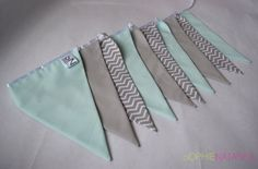 Nursery Bunting Mint Green and Grey Handmade Fabric Bunting - 10 Flags, 2 M