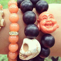 orange buddha bracelet stack by rock and rolla