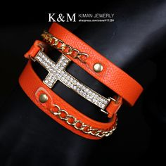 New arrival imitation leather cross gold chain bracelet six colors over $20 for free shipping-in Cross Jewelry from Jewelry on Aliexpress.co...