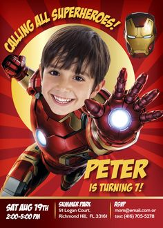 Ironman -Sample- Invitation along his favorite Avengers. Turn your boy into his favorite Super Hero IRONMAN! Iron Man Birthday, Superman Birthday, Avengers Birthday, Superhero Birthday Party, Birthday Ideas, Iron Man Party, Iron Man Theme, Superhero Invitations, Custom Birthday Invitations