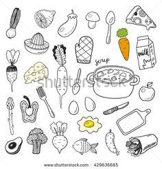 Hand drawn doodle food vector set