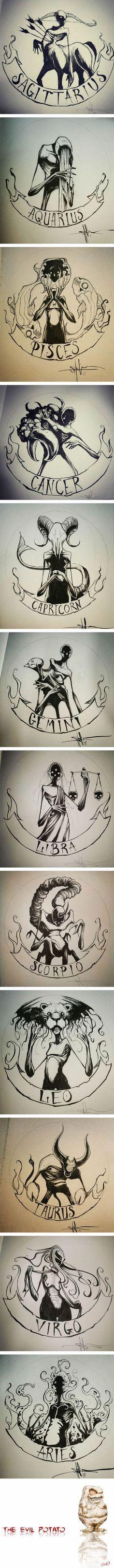 Zodiac signs as creepy monsters cancer zodiac art, sagittarius art, capricorn tattoo, taurus Zodiac Art, Zodiac Signs, Leo Zodiac, Scorpio, 2017 Zodiac, Zodiac Horoscope, Horoscopes, Art Zodiaque, Creepy Monster