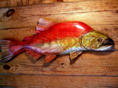 """Sockeye Salmon 28"""" rustic chainsaw wooden fish carving Red Salmon wood sculpture Kokanee river fish wall mount sport fishing home decor art by oceanarts10 on Etsy"""