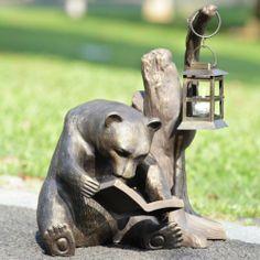 Little Bear Reading Book & Lantern Lamp Light Garden Friend Studying Lawn Décor $359