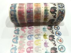 Japanese Washi Tape, Rainbow Elephants 8 Designs to Choose From 1 Roll x 10 METRES
