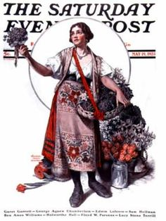 Peasant Woman Selling Flowers by Walter B. Humphrey, May 19, 1923, Saturday Evening Post.