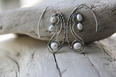 Sterling silver and pearls earrings oxidized by Keepandcherish