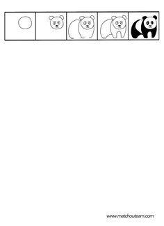 Fiches de dessins dirig s kolay izim kal plar easy drawings bee theme et arts plastiques - Coloriage panda maternelle ...