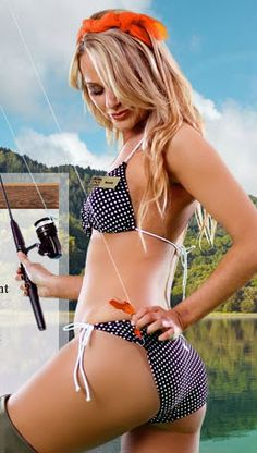 This fishing girl needs help! - Fishing knots attracted to Bikini ties make for naughty fishing.