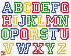 Children's alphabet graphic for cross stitch All Star Plastic Canvas Letters, Plastic Canvas Crafts, Cross Stitch Letters, Cross Stitch Heart, Cross Stitching, Cross Stitch Embroidery, Cross Stitch Designs, Stitch Patterns, Pinterest Cross Stitch