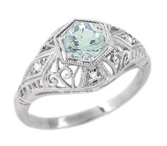Edwardian Aquamarine and Diamonds Scroll Dome Filigree Engagement Ring in 14 Karat White Gold!