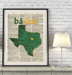 Baylor Bears Inspired Phonics/Phonetic ART PRINT Using Old Dictionary Pages, Unframed