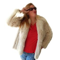Vintage Rabbit Fur Jacket Long Custom Furrier Coat This vintage high end fur coat is a creamy white, ivory color.  Approximate measurements: