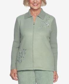 Alfred Dunner Winter Garden Embroidered Fleece Jacket - Green 18