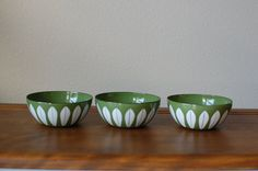 Cathrineholm set of three 4 green white lotus by TheVintageSouth