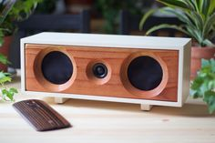 Wood Speaker System || Wireless Bluetooth Speaker From Reclaimed Wood || Willow Speaker | Heritage White & Redwood || FREE SHIPPING (349.00 USD) by SalvageAudio
