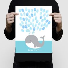 "whale fingerprint guest book baby shower or birthday 11x14"" or 16x20"" print nautical sea beach themed nursery art blue saying oceans of love"