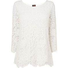 Phase Eight Shelley crochet lace blouse (89 CAD) ❤ liked on Polyvore featuring tops, blouses, shirts, clearance, ivory, 3/4 sleeve blouse, white 3/4 sleeve blouse, ivory blouse, scalloped shirt and white cotton shirt