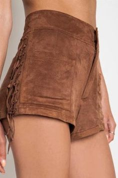 Suede Pocahontas Shorts   Suede Pocahontas Shorts Very Bohemian! Very Sassy-sexy! Suede fringe down sides.   Primary View   Sassy Posh