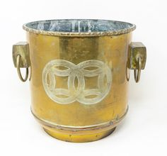 Vintage chinoiserie etched solid brass planter with faux bamboo top rim and large chunky side ring handles. Brass Planter, Faux Bamboo, Chinoiserie, Solid Brass, Planters, Rings, Top, Vintage, Spinning Top