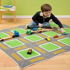 FREE CROCHET PATTERN Roadway Playmat Throw or Rug racetrack streets cars trucks trains use anything here...