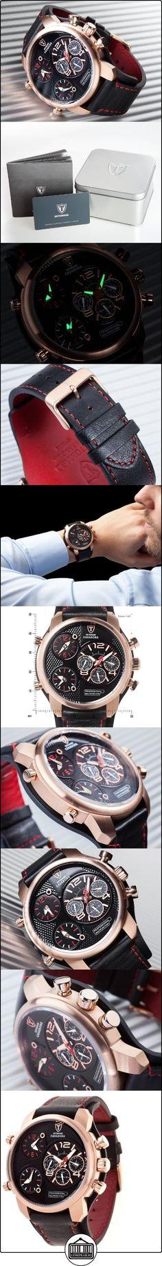 DeTomaso Casabona XXL - Reloj de cuarzo para hombres, con correa de cuero de color negro, esfera negro y dorado  ✿ Relojes para hombre - (Gama media/alta) ✿