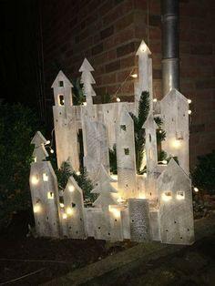 Christmas Fairy Lights, Christmas Village Display, Merry Christmas Sign, Noel Christmas, Winter Christmas, Christmas Ornaments, Ball Ornaments, Xmas, Christmas Porch