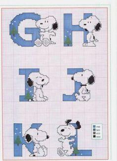 Alfabeto com o Snoopy - Esquemas de Ponto de Cruz