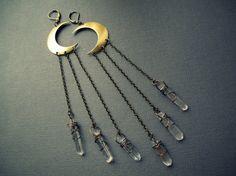 Quartz Moon Earrings Crystal Point Chandelier by Chrysalism, $38.00