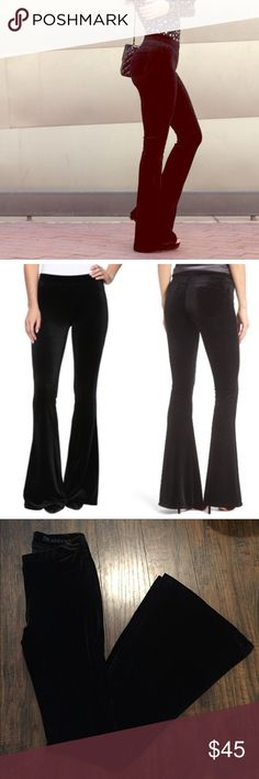"""•Blank NYC• Velvet Flare Pants Blank NYC Velvet Black Flare Pants in Excellent Used Condition. Waist Measures Approximately 13"""", Hips 15"""", Inseam 33"""". 92% Polyester, 8% Spandex. Blank NYC Pants Boot Cut & Flare"""