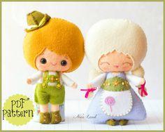 Hansel and Gretel. PDF. Plush Doll Pattern, Softie Pattern, Soft felt Toy Pattern.