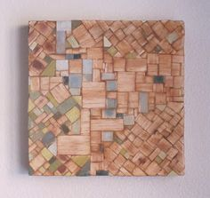 "Joshua J. Barbosa: The Larch - 8""x8"" balsa, tea and acrylic on wood."