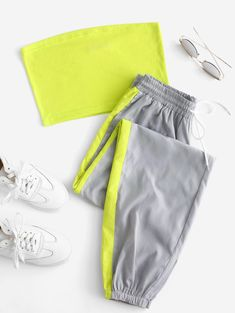 Women's Bandeau Top And Contrast Jogger Pants Set. Super cute bandeau top with matching joggers in peach and gray. Girls Fashion Clothes, Teen Fashion Outfits, Swag Outfits, Mode Outfits, Girl Outfits, Sporty Fashion, Mod Fashion, Fashion Women, Cute Lazy Outfits