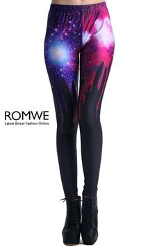 Black and Galaxy Drip Leggings - Romwe