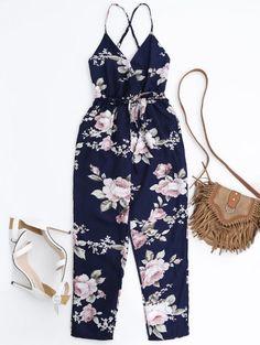 Slip Floral Surplice Jumpsuit With Tie Belt - Colormix M Rompers For Teens, Rompers Women, Jumpsuits For Women, Jumpsuit Outfit, Casual Jumpsuit, Floral Jumpsuit, Plus Zise, Shorts Jeans, Playsuit Romper