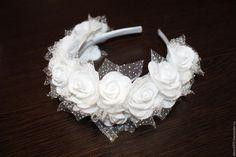 Купить Ободок из роз фоамирана - белый, роза, фоамиран, ободок для волос, ободок с цветами, ободок