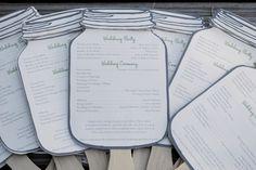Wedding Programs Mason Jar Paddle Fans. $2.50, via Etsy.