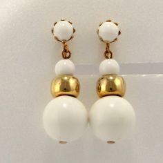 White Drop Dangle Clip On Earrings Mid Century Vtg Jewelry.
