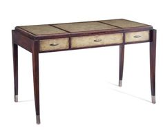 """30""""H x 48""""W x 25""""D  Dante Vanity Desk  Elegant Sabre Legs With Stainless Steel Terminals Supporting The Box Frame With 2 Drawers and A Central Well. Jupiter Gilt Walnut Finish With Inset Hand Colored Leather Parchment Panels. Central Lift Up Lid With Soft Closing Stays, Revels A Light Box To Illuminate Mirror, 3 Electrical Outlets and A USB Port Included In Storage Space    Product Code: EUR-02-0120  Category: Furniture, Sub Category:John-Richard Furniture"""