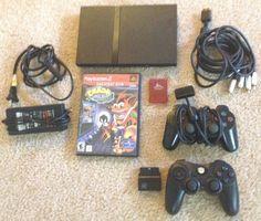 Sony PlayStation 2 PS2 Slim w/Cords +2 Controllers +Wrath Of Cortex BUNDLE L@@K! #Sony