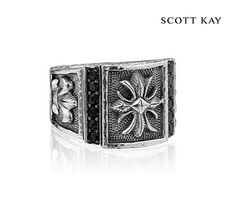 Scott Kay's Mens Faith Collection - Mens Sterling Silver Cross Ring with Black Sapphire (Product Style: GR2680SPABSM) #ScottKay #MensFashion